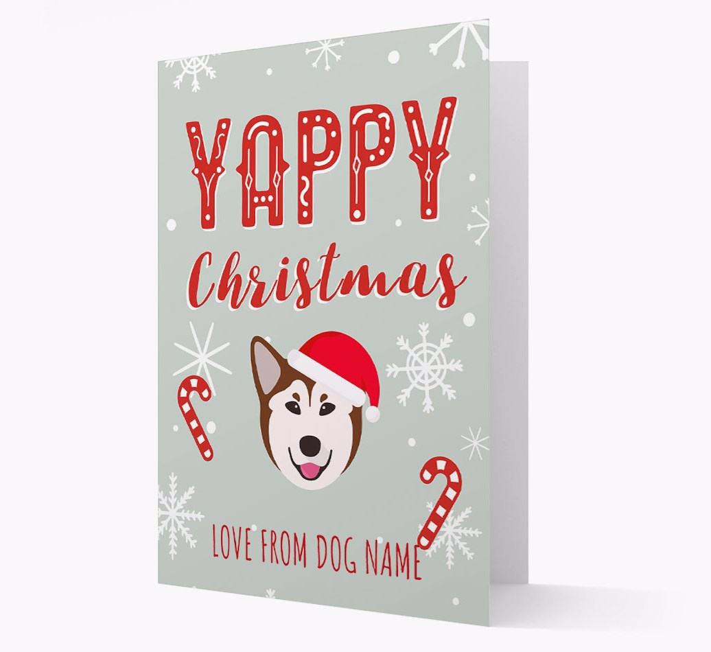 Personalised 'Yappy Christmas' Card with Rescue Dog Christmas Icon