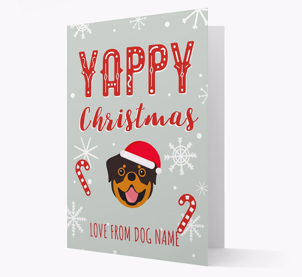 Personalised 'Yappy Christmas' Card with Rottweiler Christmas Icon