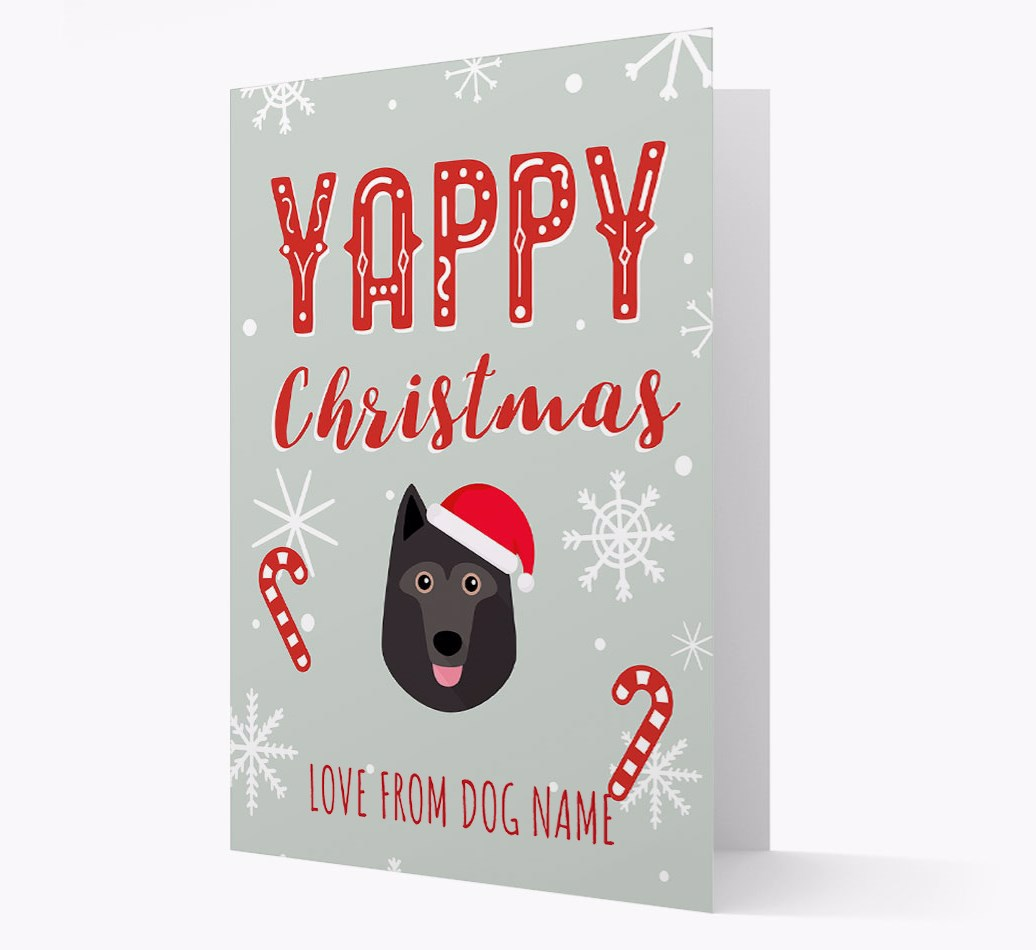 Personalised 'Yappy Christmas' Card with Schipperke Christmas Icon
