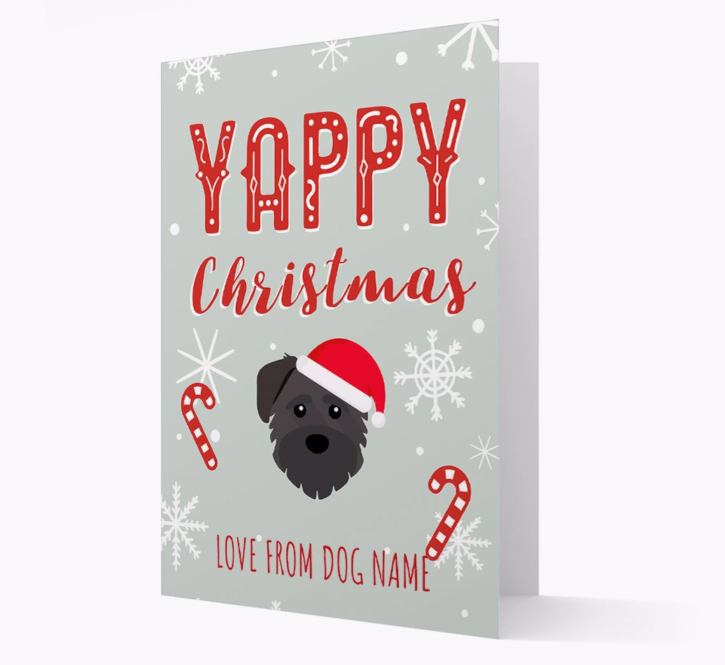 Personalised 'Yappy Christmas' Card with Schnoodle Christmas Icon