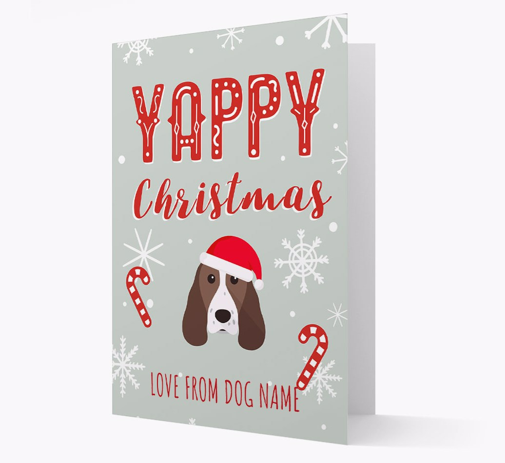 Personalised 'Yappy Christmas' Card with Springer Spaniel Christmas Icon