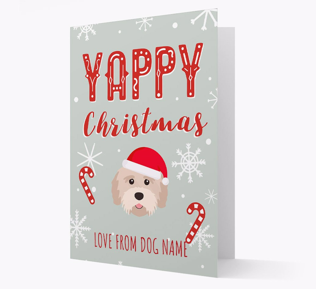 Personalised 'Yappy Christmas' Card with Tibetan Terrier Christmas Icon