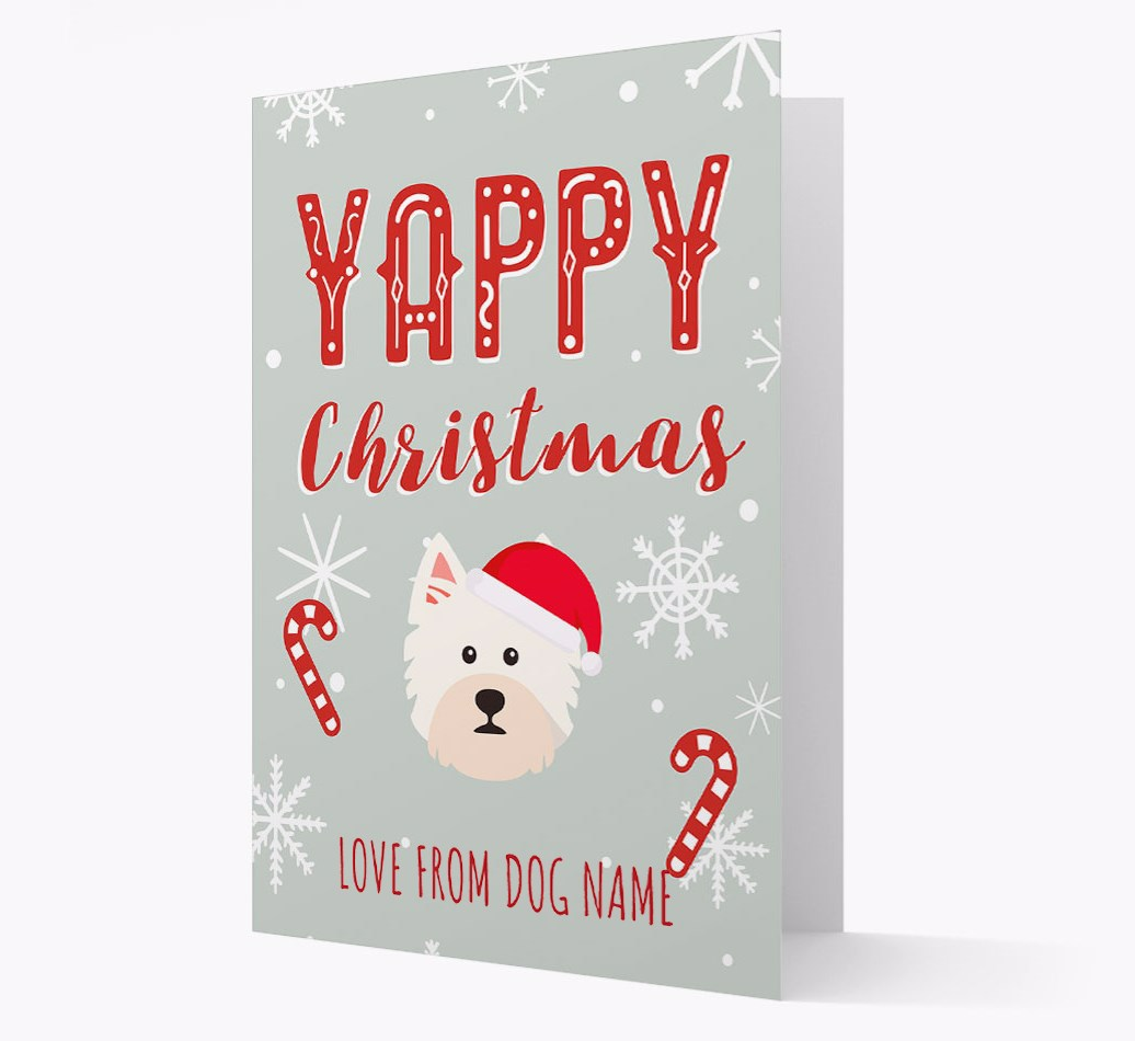 Personalised 'Yappy Christmas' Card with West Highland White Terrier Christmas Icon