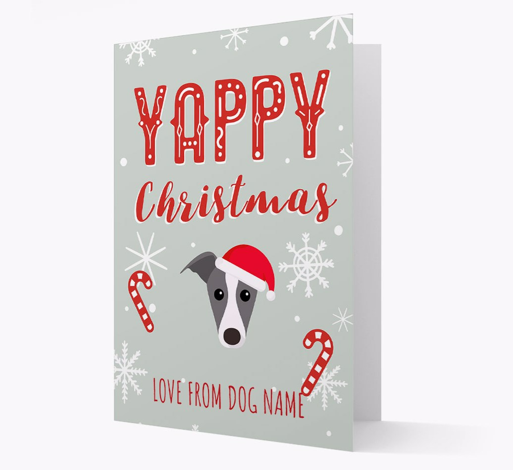 Personalised 'Yappy Christmas' Card with Whippet Christmas Icon