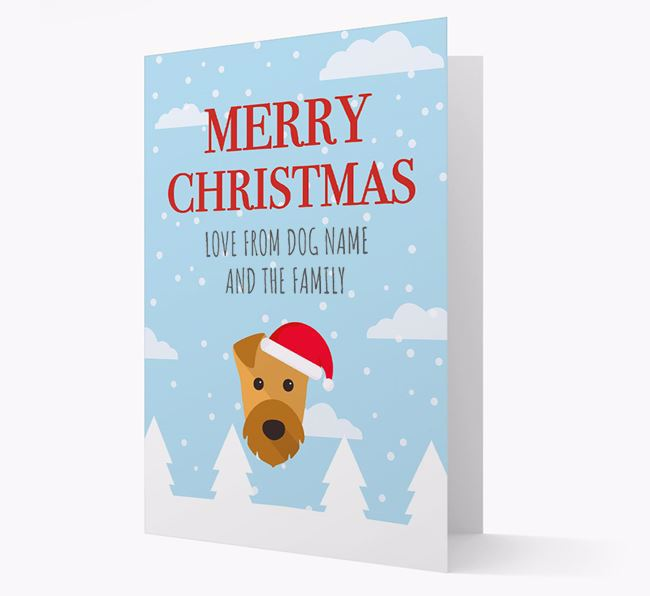 'Love from the Family' Christmas Card with your Airedale Terrier Christmas Icon