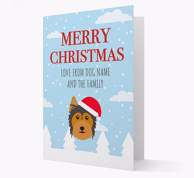 'Love from the Family' Christmas Card with your Australian Silky Terrier Christmas Icon