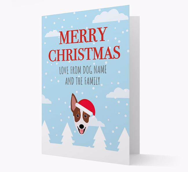 'Love from the Family' Christmas Card with your Australian Working Kelpie Christmas Icon