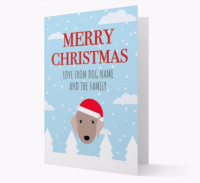 'Love from the Family' Christmas Card with your Bedlington Terrier Christmas Icon