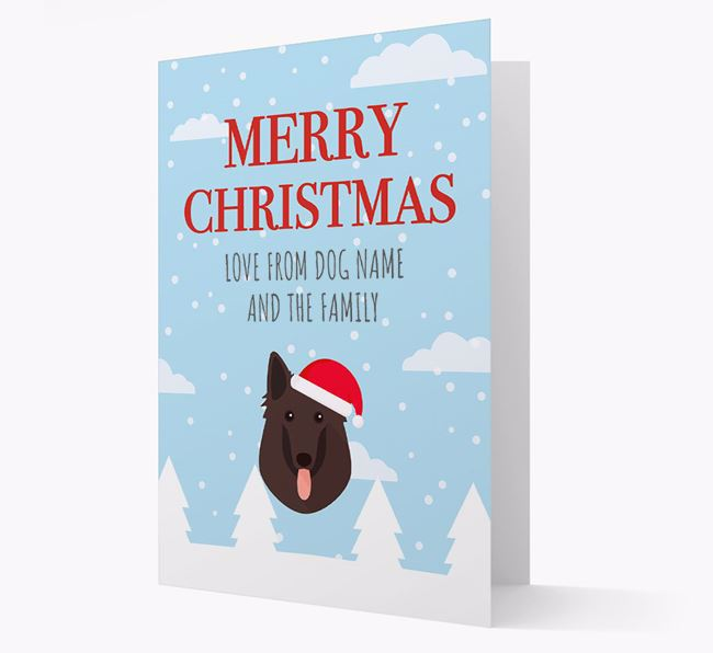 'Love from the Family' Christmas Card with your Belgian Groenendael Christmas Icon