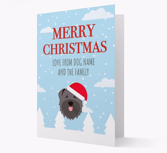 'Love from the Family' Christmas Card with your Bouvier Des Flandres Christmas Icon