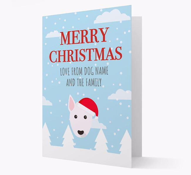 'Love from the Family' Christmas Card with your Bull Terrier Christmas Icon