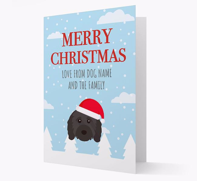 'Love from the Family' Christmas Card with your Cavapoo Christmas Icon