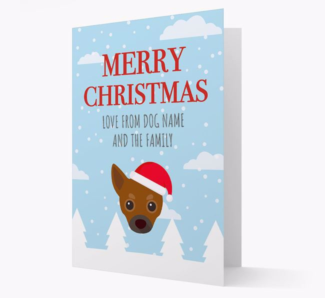 'Love from the Family' Christmas Card with your Chihuahua Christmas Icon