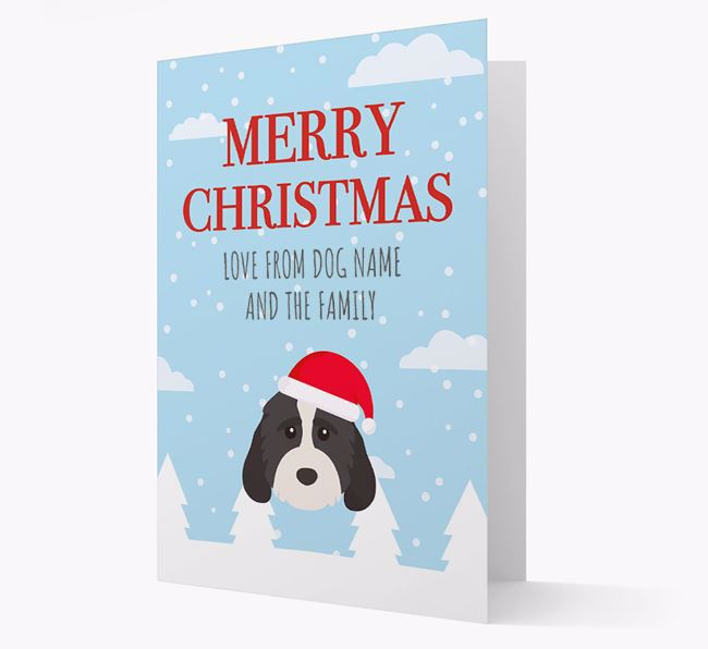 'Love from the Family' Christmas Card with your Cockapoo Christmas Icon