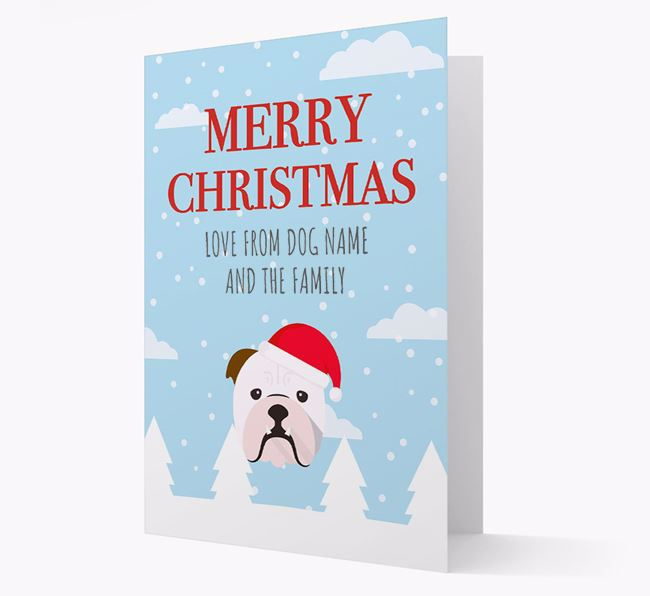 'Love from the Family' Christmas Card with your English Bulldog Christmas Icon