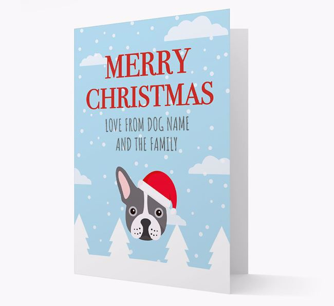 'Love from the Family' Christmas Card with your French Bulldog Christmas Icon