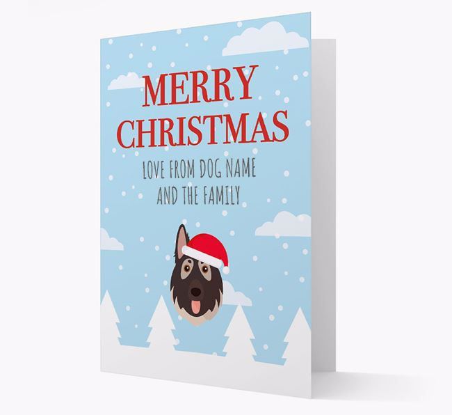 'Love from the Family' Christmas Card with your German Shepherd Christmas Icon