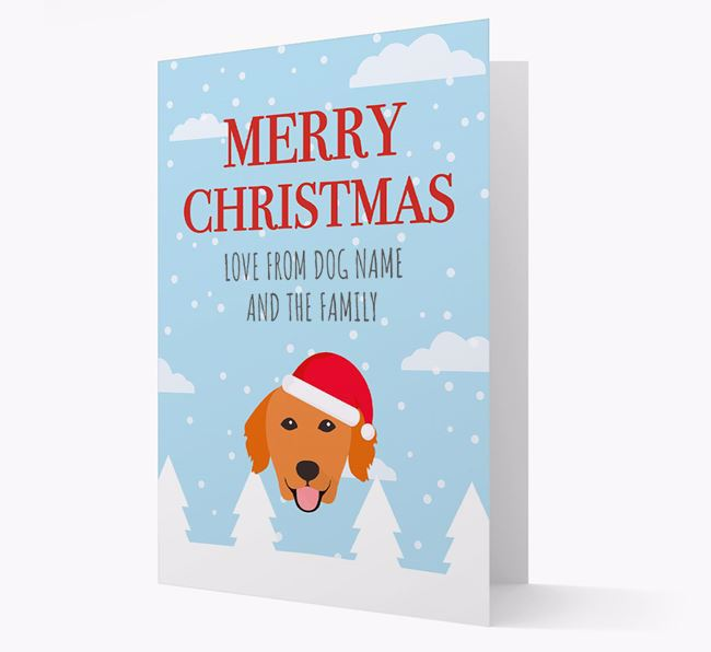 'Love from the Family' Christmas Card with your Golden Retriever Christmas Icon