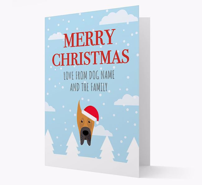 'Love from the Family' Christmas Card with your Great Dane Christmas Icon