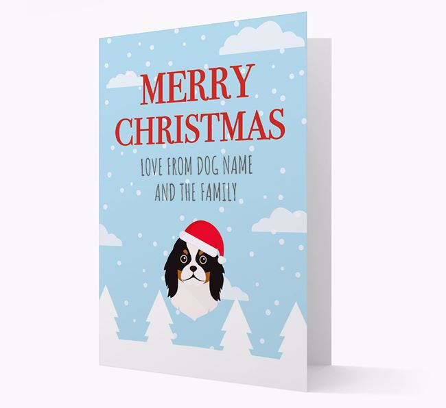 'Love from the Family' Christmas Card with your Japanese Chin Christmas Icon