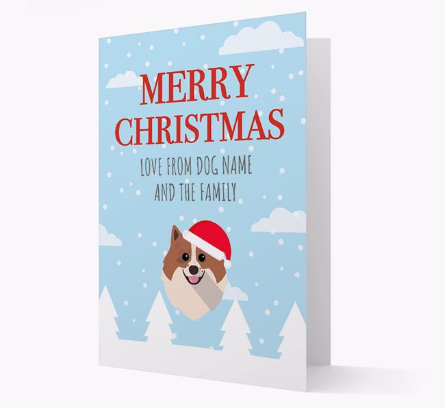 'Love from the Family' Christmas Card with your Pomeranian Christmas Icon