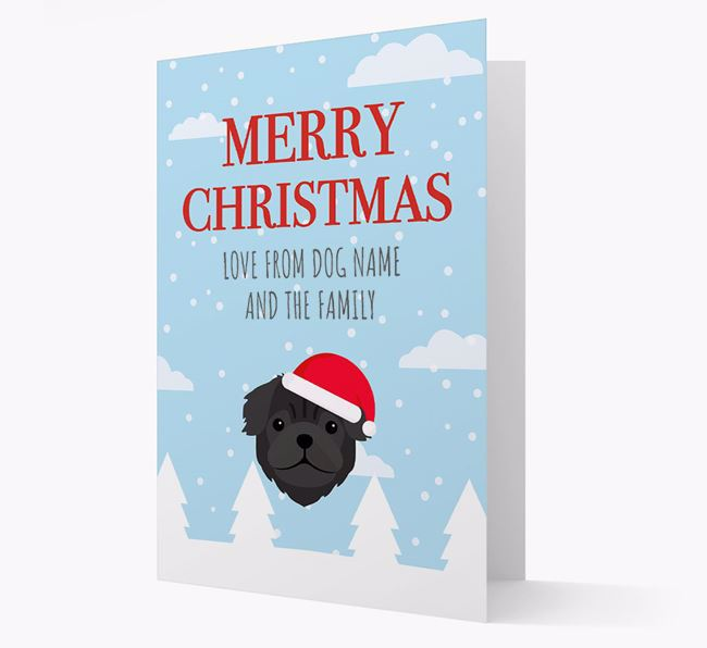 'Love from the Family' Christmas Card with your Pug Christmas Icon