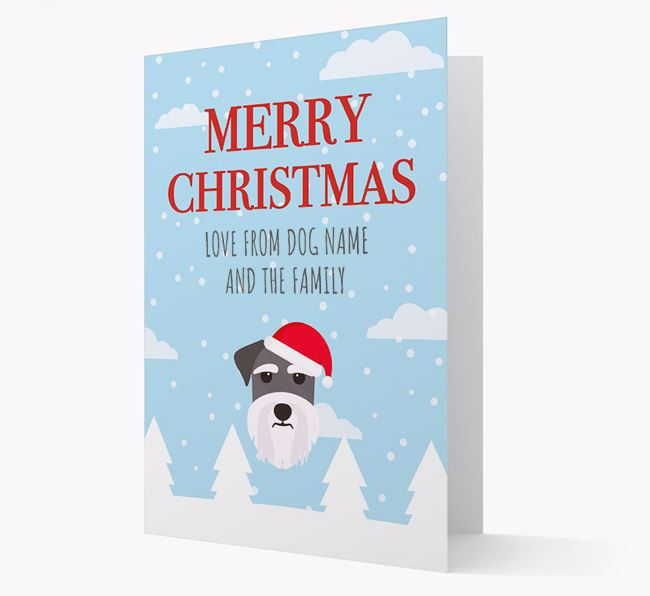 'Love from the Family' Christmas Card with your Schnauzer Christmas Icon
