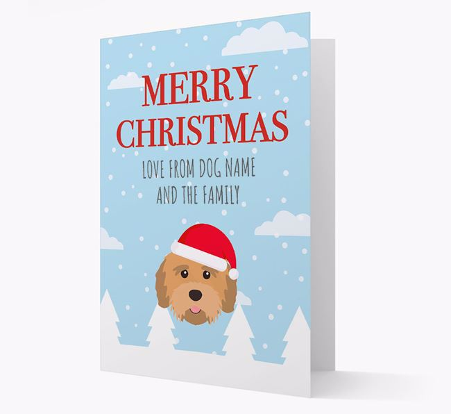'Love from the Family' Christmas Card with your Tibetan Terrier Christmas Icon