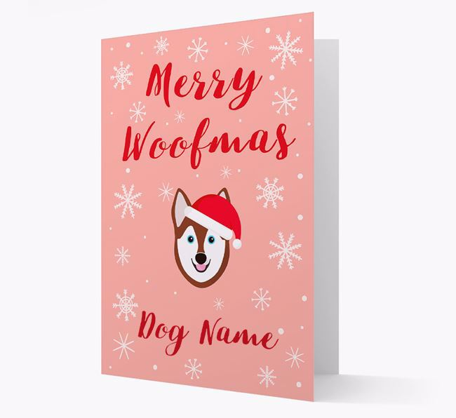 'Merry Woofmas Your Dog' Card with your Alaskan Klee Kai Christmas Icon