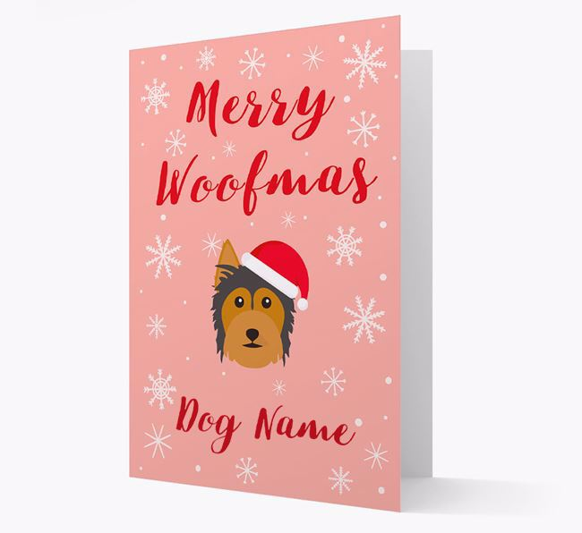 'Merry Woofmas Your Dog' Card with your Australian Silky Terrier Christmas Icon