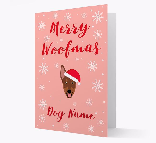 'Merry Woofmas Your Dog' Card with your Australian Working Kelpie Christmas Icon