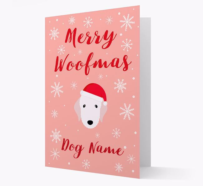 'Merry Woofmas Your Dog' Card with your Bedlington Terrier Christmas Icon