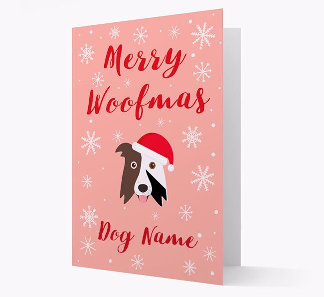 'Merry Woofmas Your Dog' Card with your Border Collie Christmas Icon