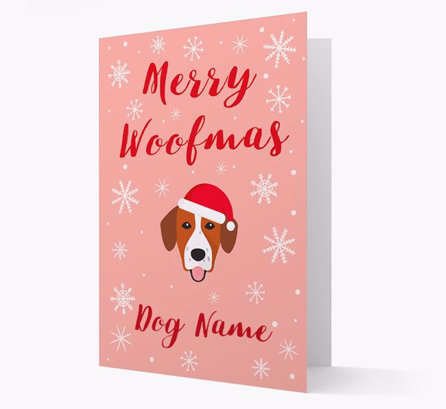 'Merry Woofmas Your Dog' Card with your Springador Christmas Icon