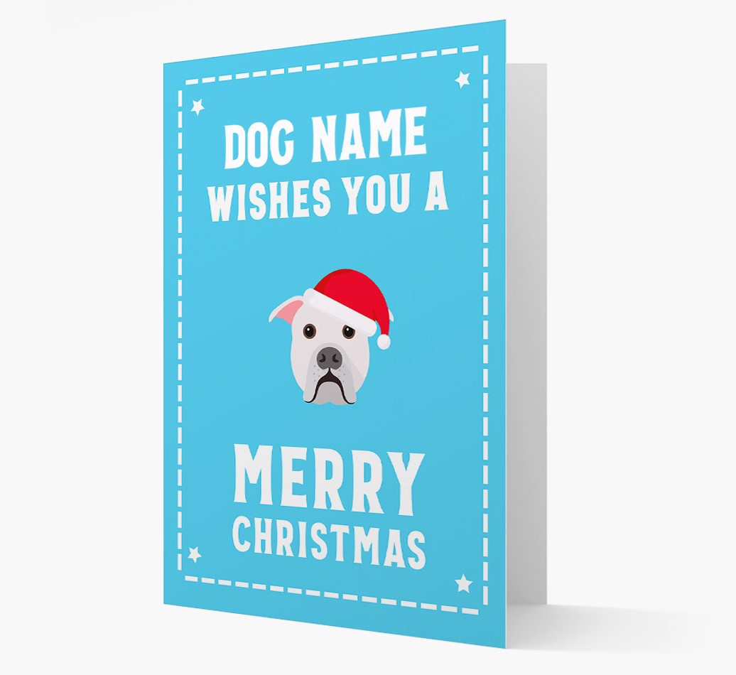 'Christmas Wishes' Card with your American Bulldog Christmas Icon