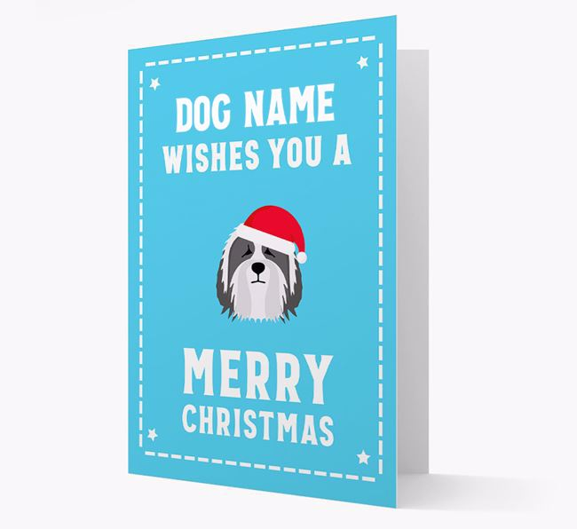'Christmas Wishes' Card with your Bearded Collie Christmas Icon