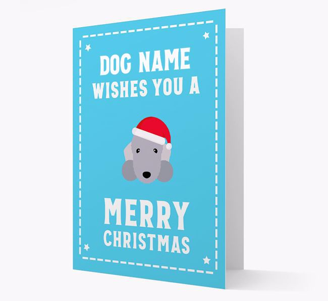 'Christmas Wishes' Card with your Bedlington Terrier Christmas Icon