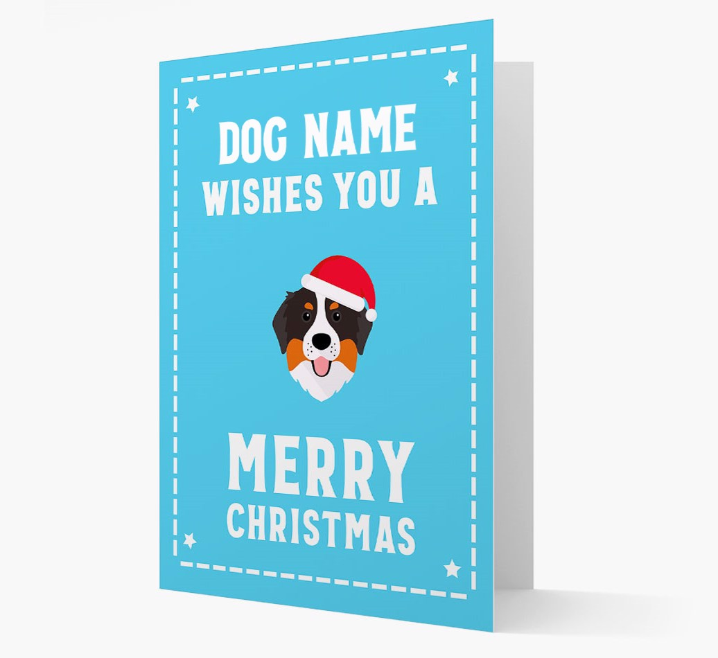 'Christmas Wishes' Card with your Bernese Mountain Dog Christmas Icon