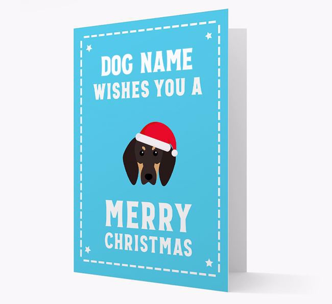 'Christmas Wishes' Card with your Black and Tan Coonhound Christmas Icon