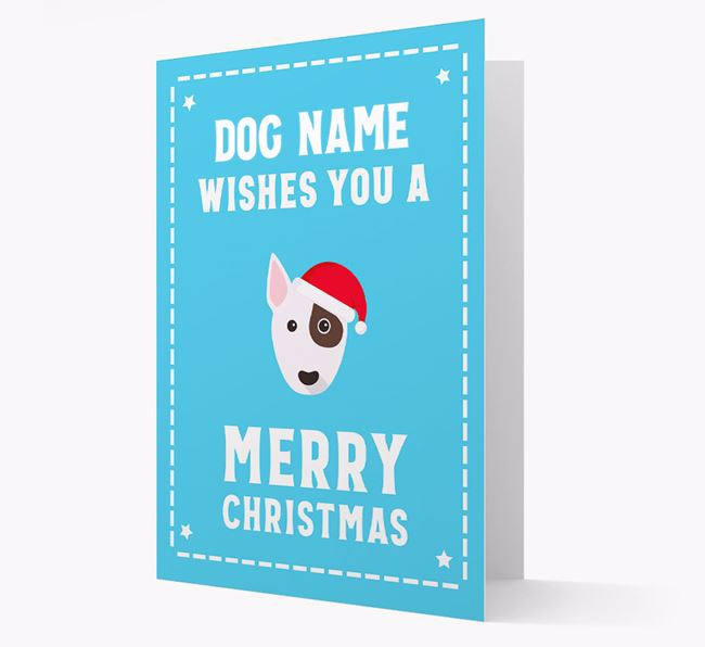 'Christmas Wishes' Card with your Bull Terrier Christmas Icon