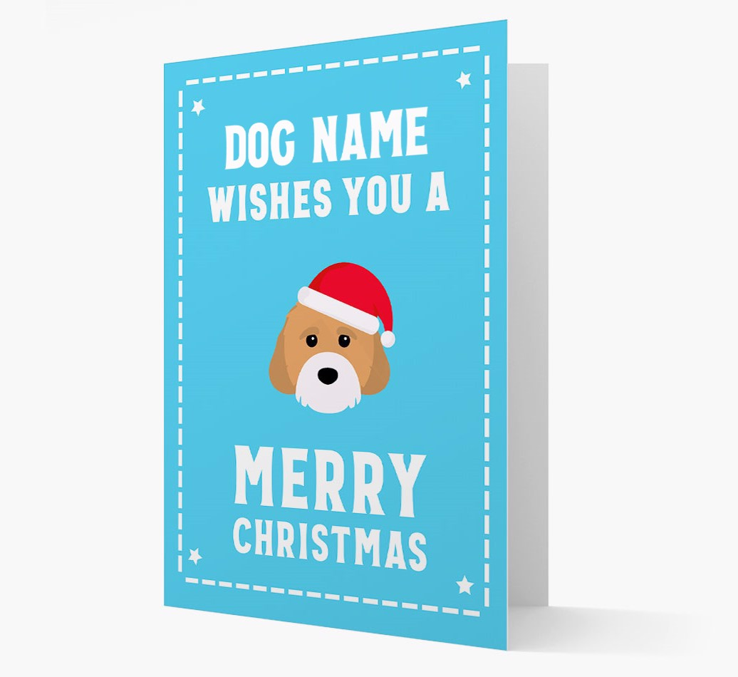 'Christmas Wishes' Card with your Cavachon Christmas Icon