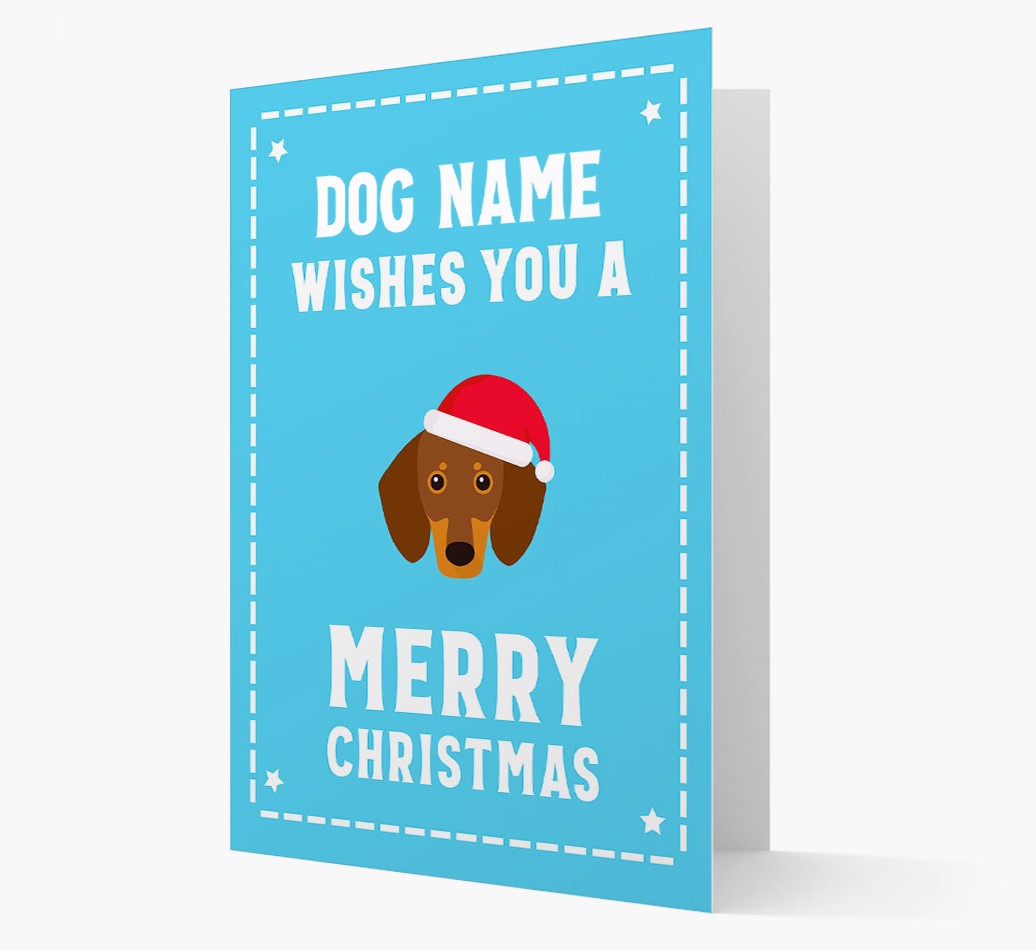 'Christmas Wishes' Card with your Dachshund Christmas Icon