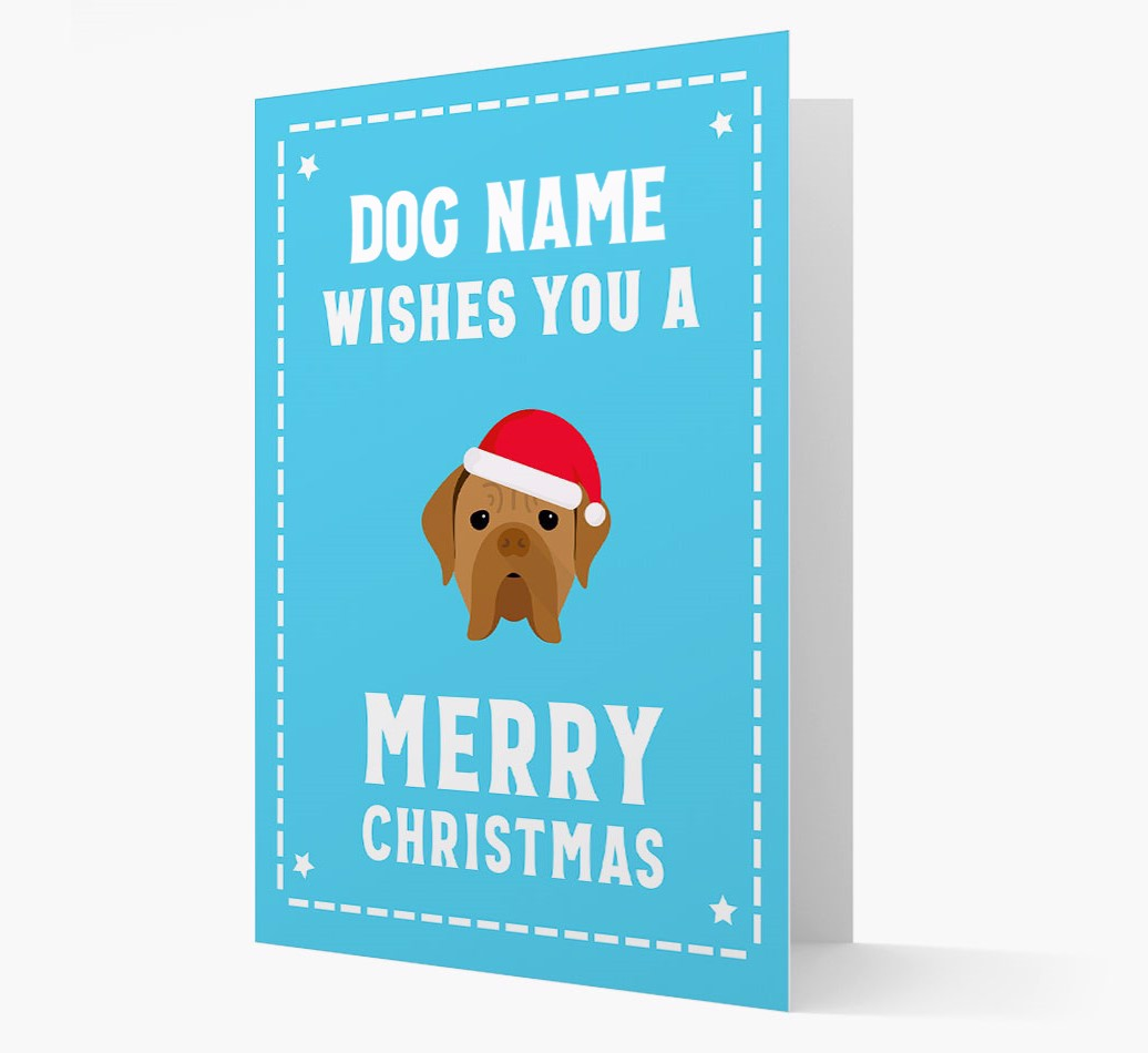 'Christmas Wishes' Card with your Dogue de Bordeaux Christmas Icon