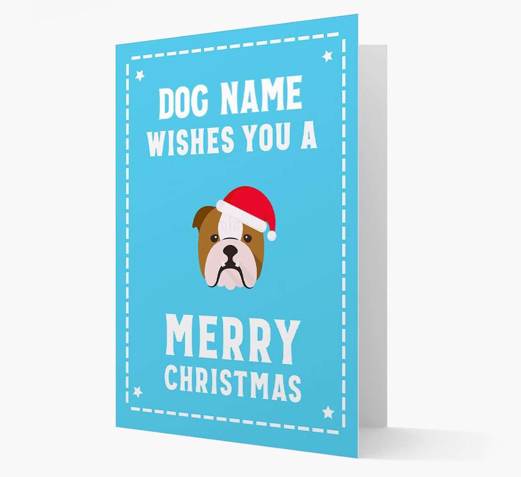 'Christmas Wishes' Card with your English Bulldog Christmas Icon
