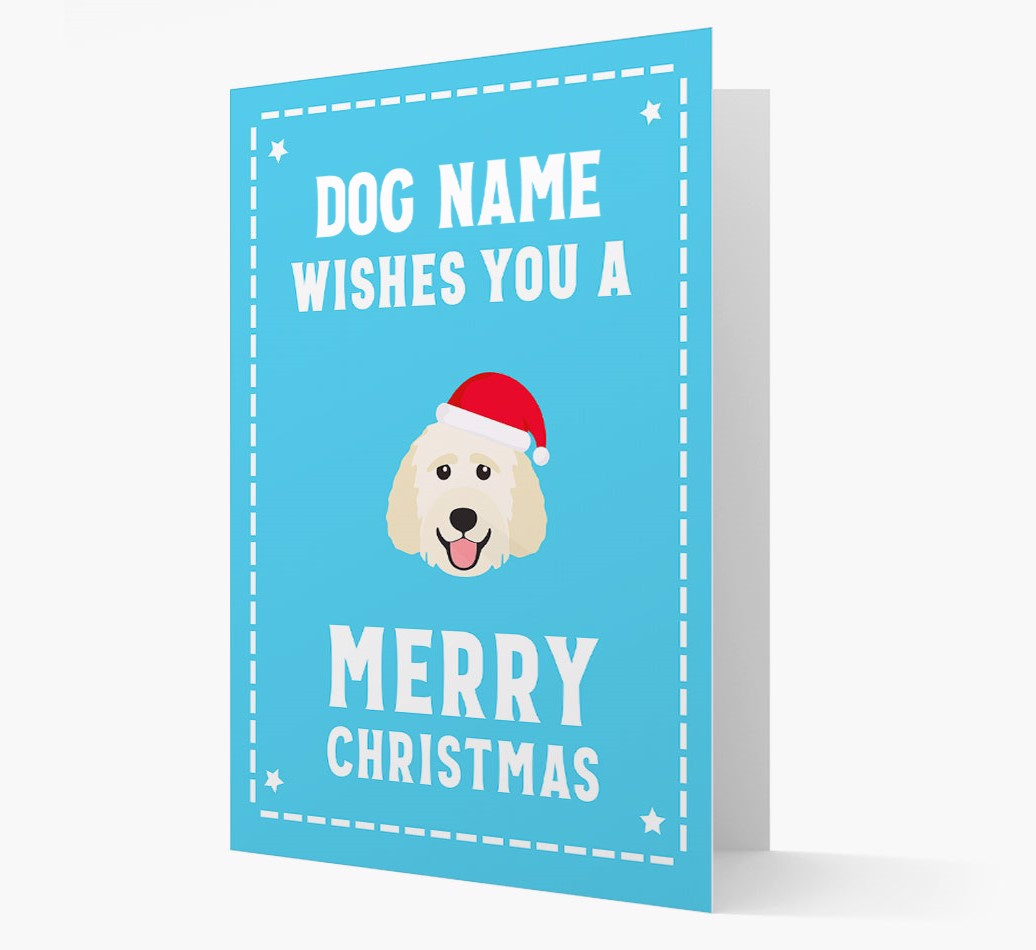 'Christmas Wishes' Card with your Goldendoodle Christmas Icon