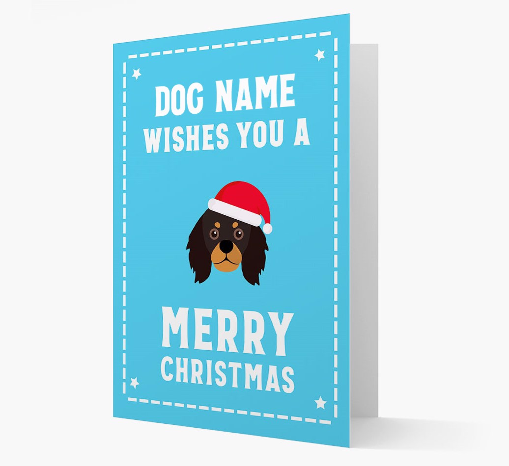 'Christmas Wishes' Card with your King Charles Spaniel Christmas Icon