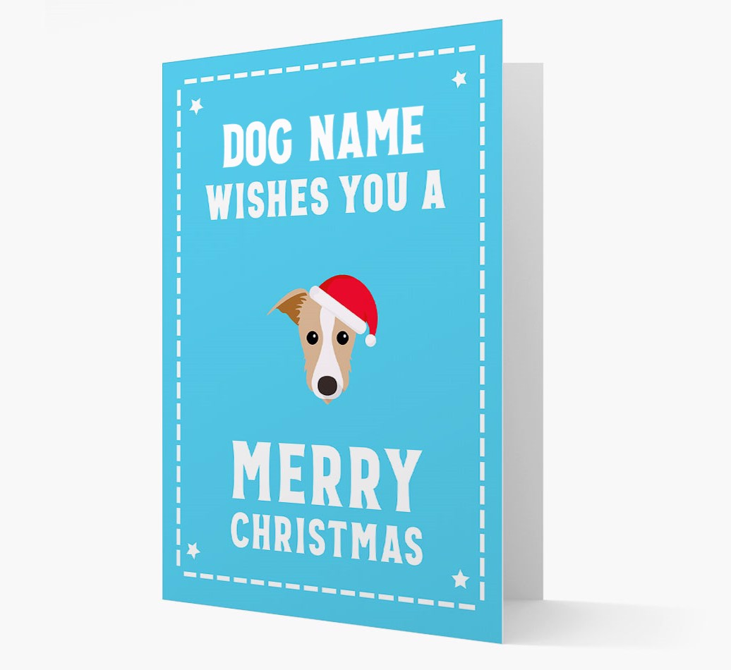 'Christmas Wishes' Card with your Lurcher Christmas Icon