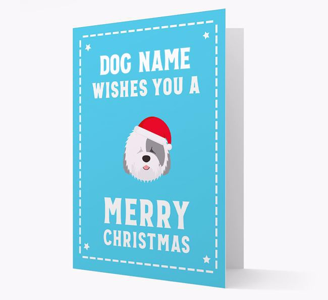 'Christmas Wishes' Card with your Old English Sheepdog Christmas Icon