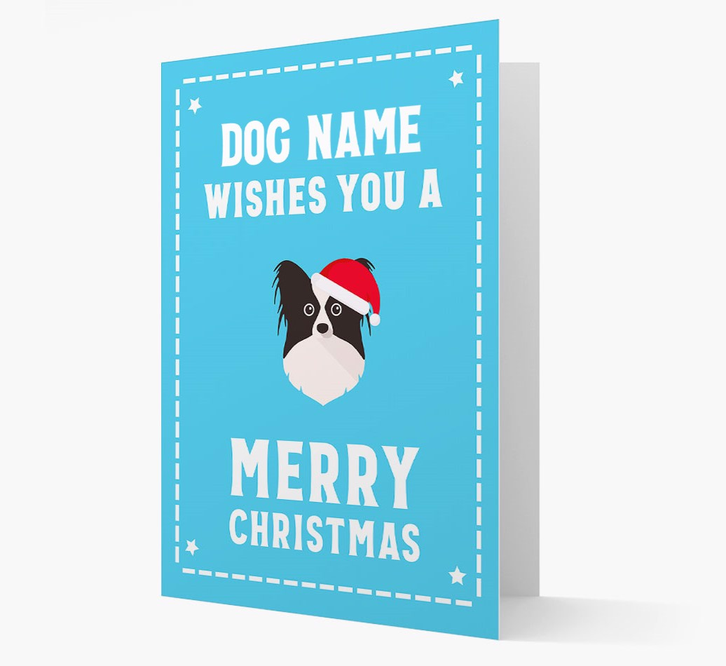 'Christmas Wishes' Card with your Papillon Christmas Icon