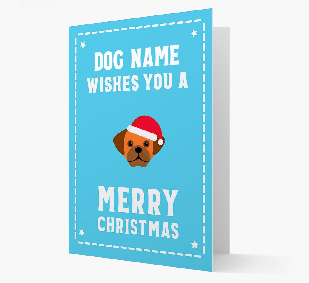 'Christmas Wishes' Card with your Puggle Christmas Icon